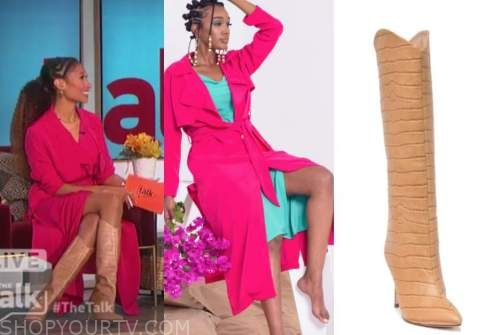 elaine welteroth, the talk, hot pink trench dress, beige croc boots