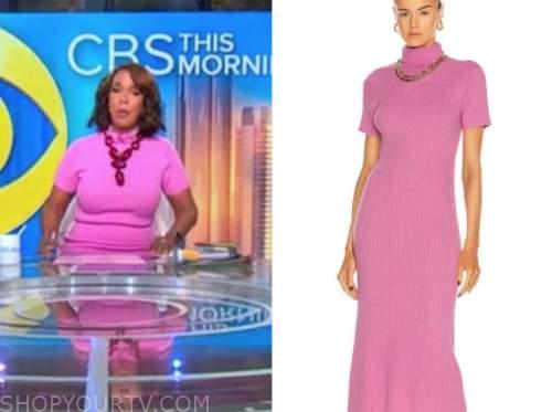 cbs this morning, pink turtleneck dress, gayle king