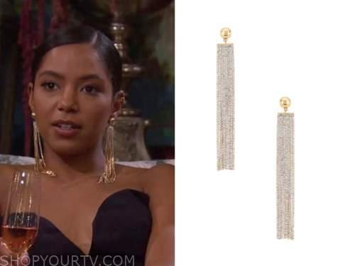 bri springs, the bachelor, rhinestone fringe earrings