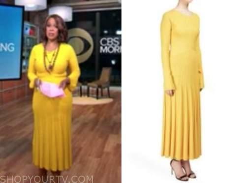 gayle king, cbs this morning, yellow knit ribbed midi dress