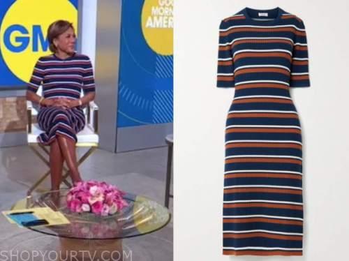 robin roberts, striped knit midi dress, good morning america