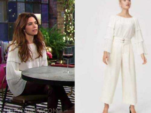 victoria newman, amelia heinle, the young and the restless, white pleated tiered top