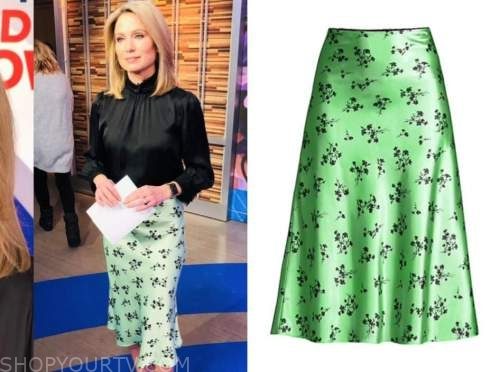 amy robach, black and green floral satin skirt, good morning america