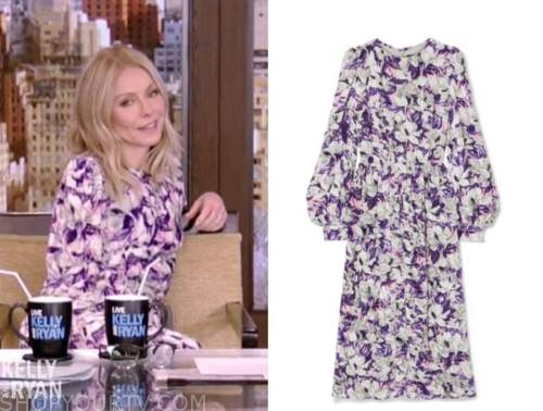 kelly ripa, live with kelly and ryan, purple floral midi dress