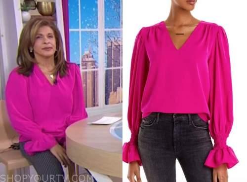 hoda kotb, the today show, hot pink blouse, hoda and jenna