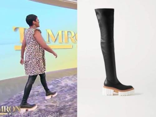 tamron hall, tamron hall show, black over-the-knee boots