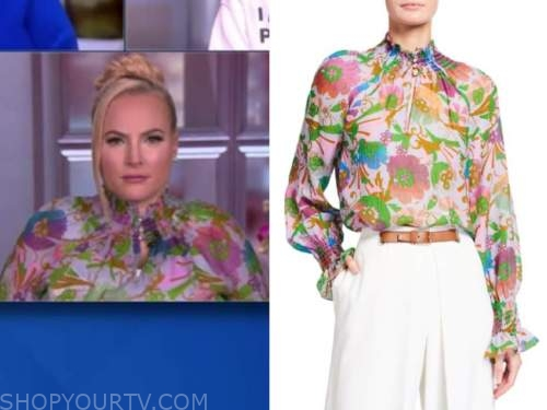 meghan mccain, the view, green and purple floral blouse