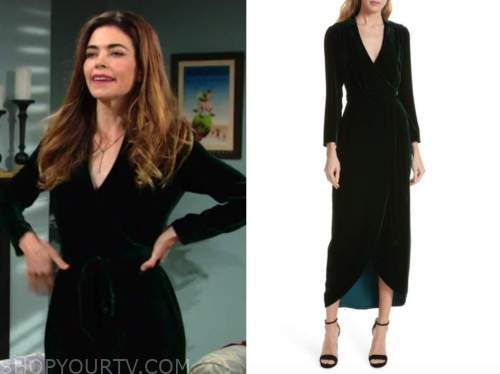 victoria newman, amelia heinle, the young and the restless, green velvet wrap midi dress