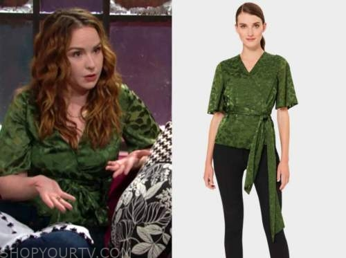 mariah copeland, camryn grimes, the young and the restless, green wrap top