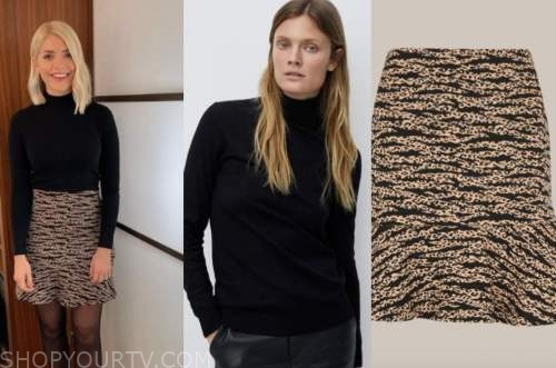 holly willoughby, this morning, black turtleneck, tiger skirt