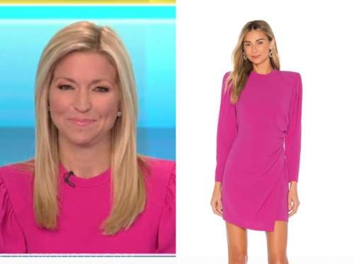 fox and friends, ainsley earhardt, hot pink puff sleeve dress