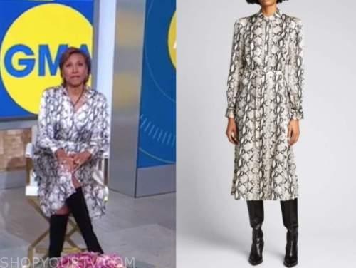 robin roberts, good morning america, snakeskin shirt dress
