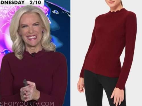 janice dean, fox and friends, burgundy scallop sweater