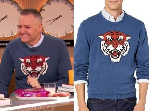 ross mathews, drew barrymore show, blue tiger sweater