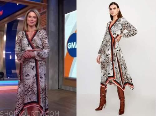 amy robach, good morning america, leopard contrast trim wrap midi dress