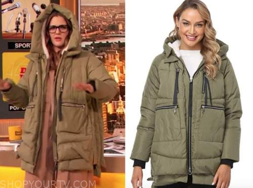 drew barrymore, drew barrymore show, olive green puffer parka jacket