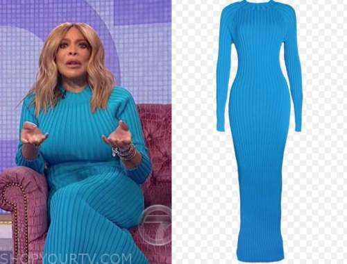 wendy williams, the wendy williams show, blue ribbed knit maxi dress