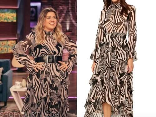 kelly clarkson, zebra print dress, top, skirt, the kelly clarkson show