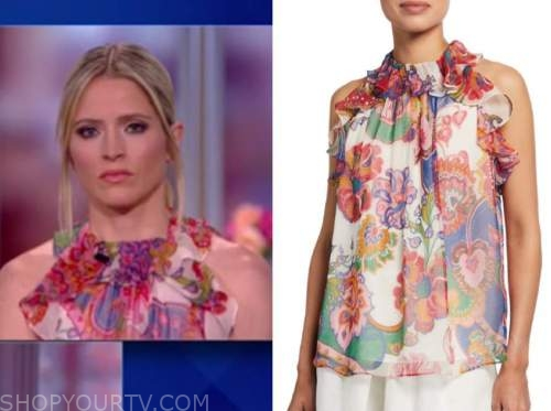 sara haines, the view, paisley floral ruffle halter top