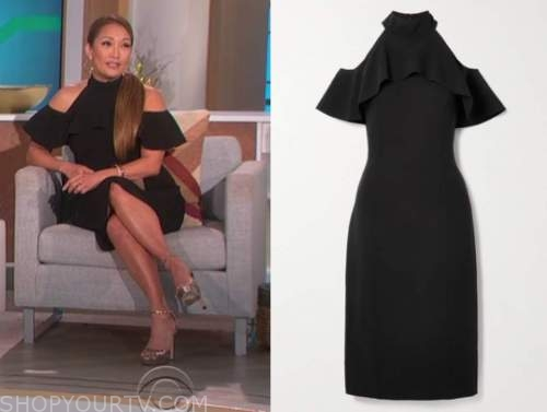 carrie ann inaba, the talk, black cold-shoulder ruffle dress