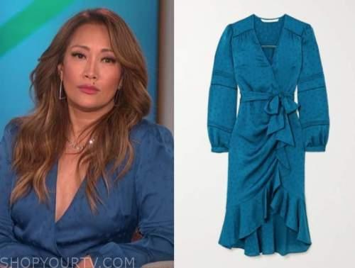 carrie ann inaba, blue wrap midi dress, the talk