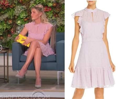 amanda kloots, the talk, lilac pink ruffle dot dress