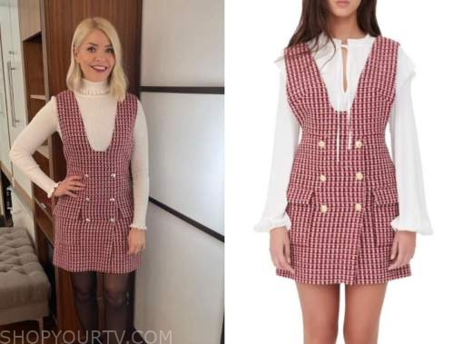 this morning, holly willoughby, pink tweed pinafore dress