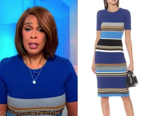 gayle king, blue striped dress, cbs this morning