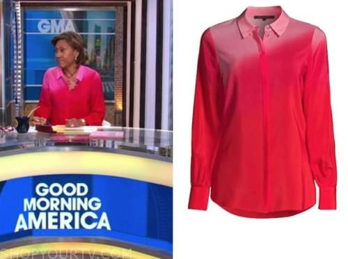 robin roberts, good morning america, pink and red ombre blouse