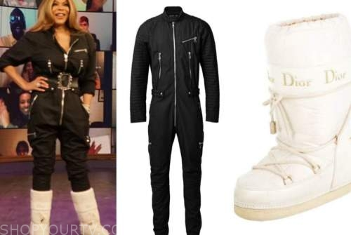 wendy williams, the wendy williams show, black jumpsuit, white snow boots