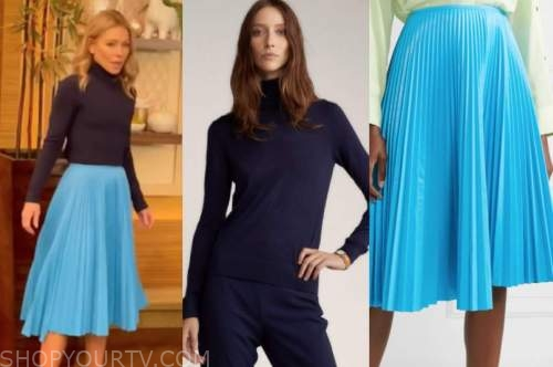 kelly ripa, live with kelly and ryan, navy blue turtleneck, blue pleated skirt