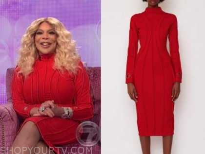 wendy williams, the wendy williams show, red turtleneck dress