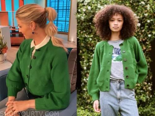 amanda kloots, the talk, green heart cardigan sweater