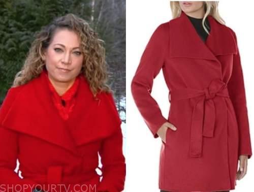 ginger zee, good morning america, red wrap coat