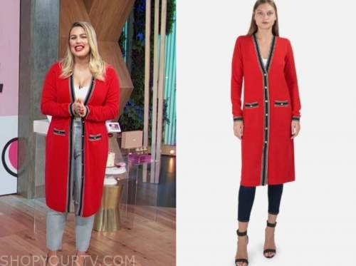 carissa culiner, E! news, daily pop, red contrast trim cardigan sweater