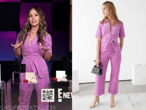 lilliana vazquez, purple pink cord jumpsuit, e! news, daily pop