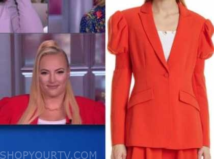 meghan mccain, the view, red puff sleeve blazer
