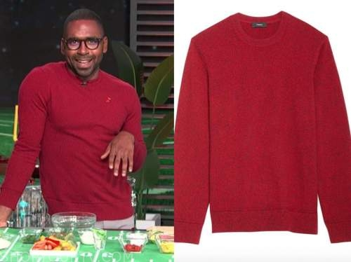 justin sylvester, E! news, daily pop, red sweater