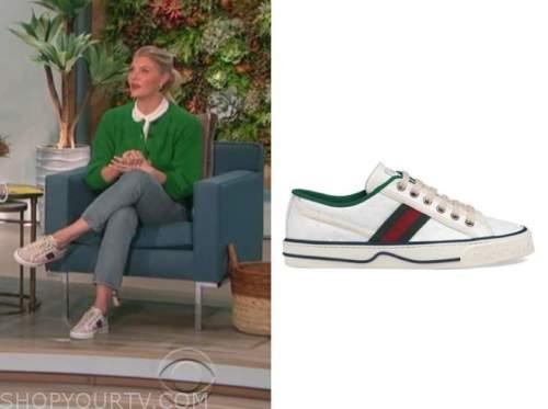 amanda kloots, the talk, striped sneakers