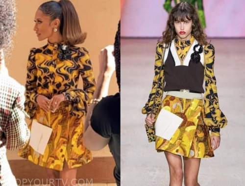 elaine welteroth, the talk, yellow printed top and skirt