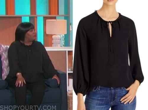 sheryl underwood, the talk, black tie neck blouse