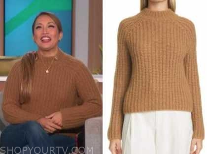 carrie ann inaba, the talk, camel brown sweater