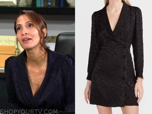 lily winters, christel khalil, the young and the restless, leopard jacquard blazer dress