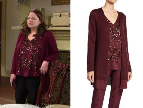 nina webster, burgundy embellished top, burgundy cardigan, the young and the restless, tricia cast