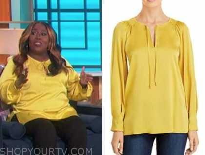 sheryl underwood, the talk, yellow keyhole blouse