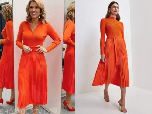 charlotte hawkins, good morning britain, orange red pleated knit dress