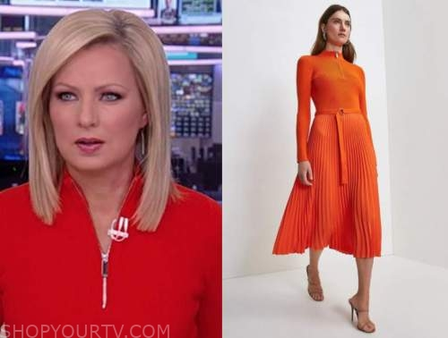 sandra smith, america's newsroom, red orange knit pleated midi dress