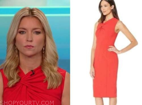 ainsley earhardt, fox and friends, red twist knot dress