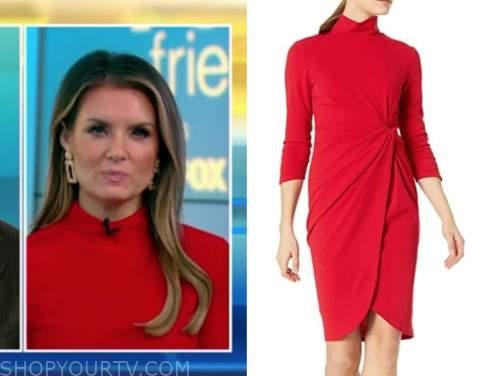 jillian mele, fox and friends, red mock neck dress