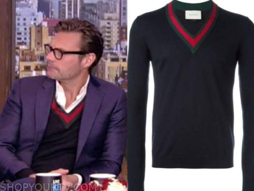 ryan seacrest, live with kelly and ryan, contrast trim v-neck sweater